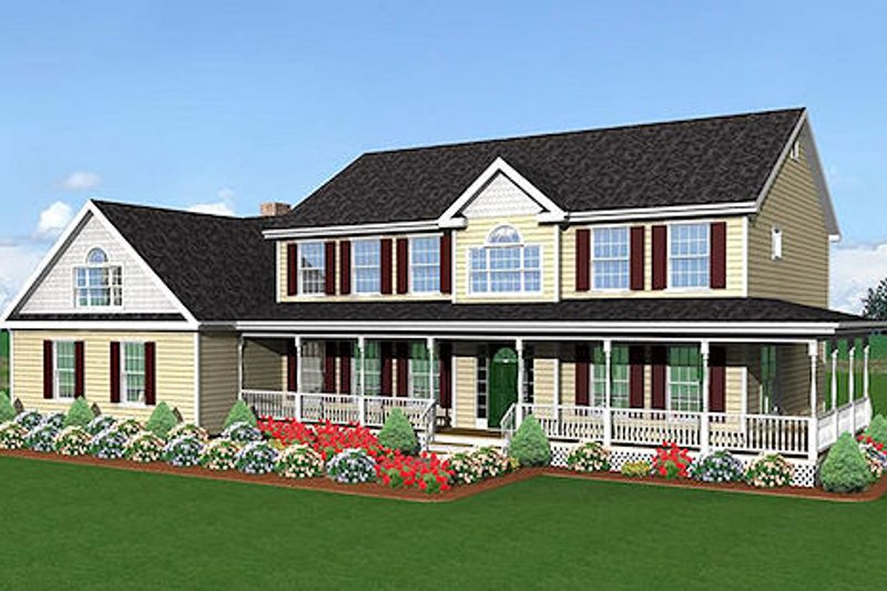 Country Style House Plan - 4 Beds 2.5 Baths 2611 Sq/Ft Plan #75-118 Exterior - Front Elevation
