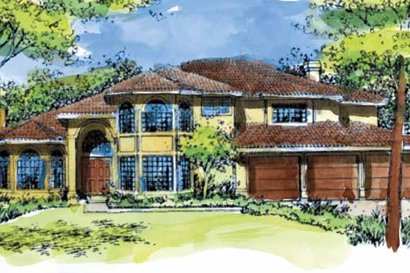 Mediterranean Exterior - Front Elevation Plan #320-978