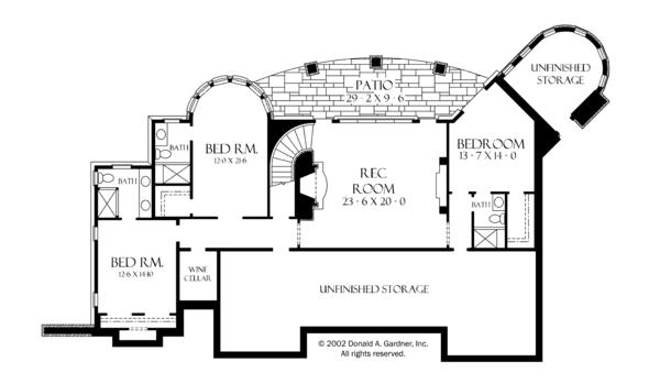 European Floor Plan - Lower Floor Plan #929-893