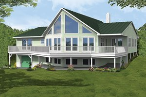 House Plan Design - Country Exterior - Rear Elevation Plan #1061-12