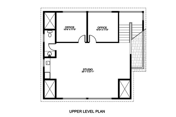 Contemporary Floor Plan - Upper Floor Plan Plan #498-3