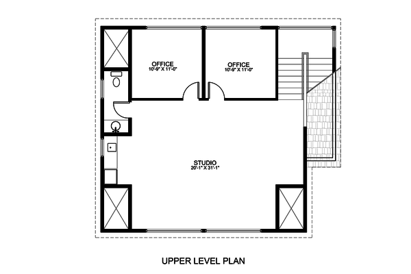 Contemporary Floor Plan - Upper Floor Plan #498-3