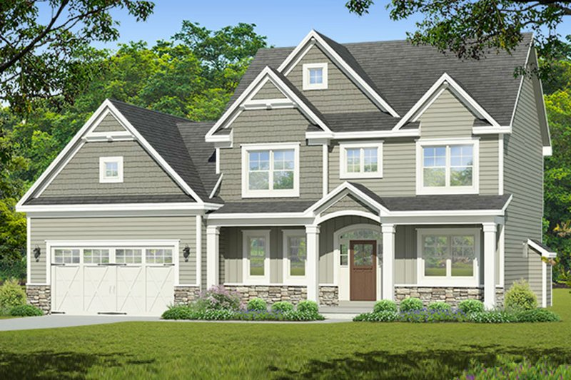 Colonial Exterior - Front Elevation Plan #1010-198