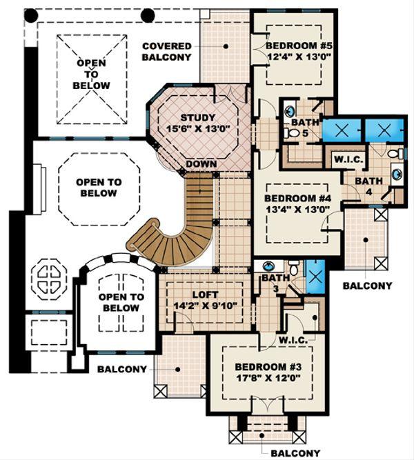 Mediterranean Floor Plan - Upper Floor Plan Plan #27-428