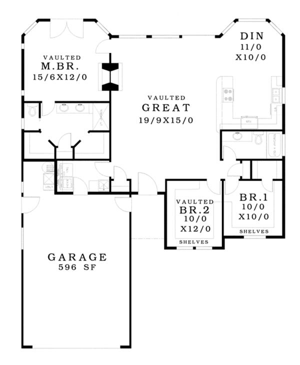 Ranch Floor Plan - Main Floor Plan Plan #943-42