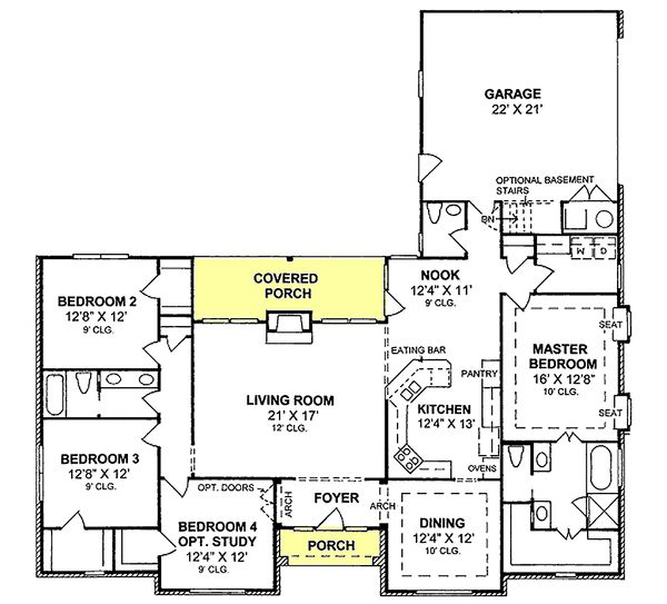 Traditional house plan style, floorplan