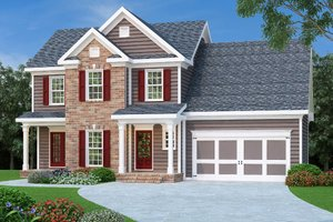 Colonial Exterior - Front Elevation Plan #419-186