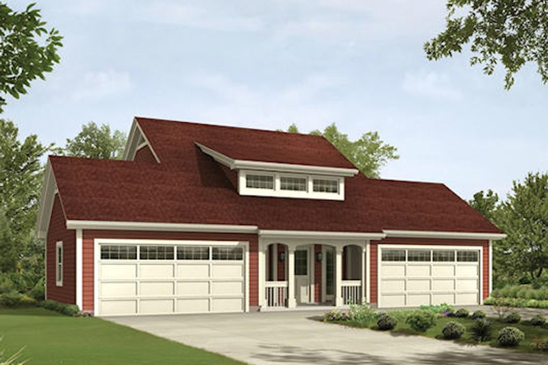 Craftsman Style House Plan - 1 Beds 1.5 Baths 1026 Sq/Ft Plan #57-395 Exterior - Front Elevation