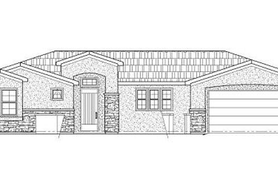 Adobe / Southwestern Exterior - Front Elevation Plan #24-287