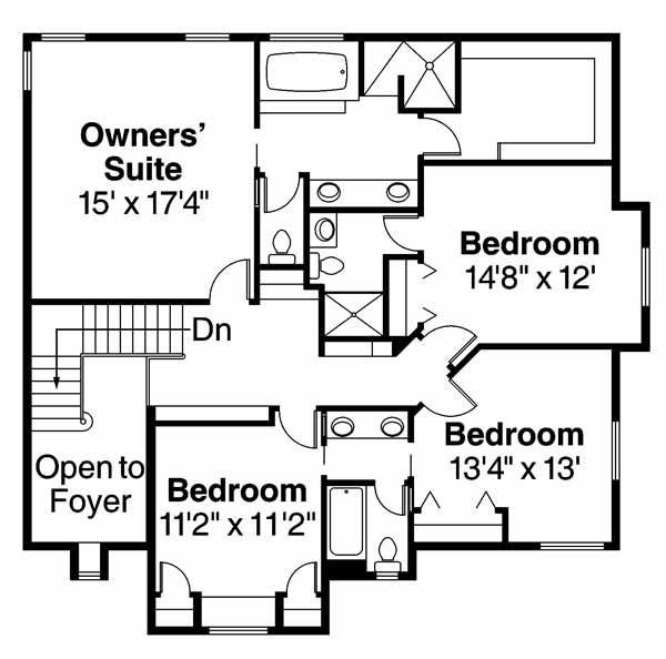 European Floor Plan - Upper Floor Plan Plan #124-542