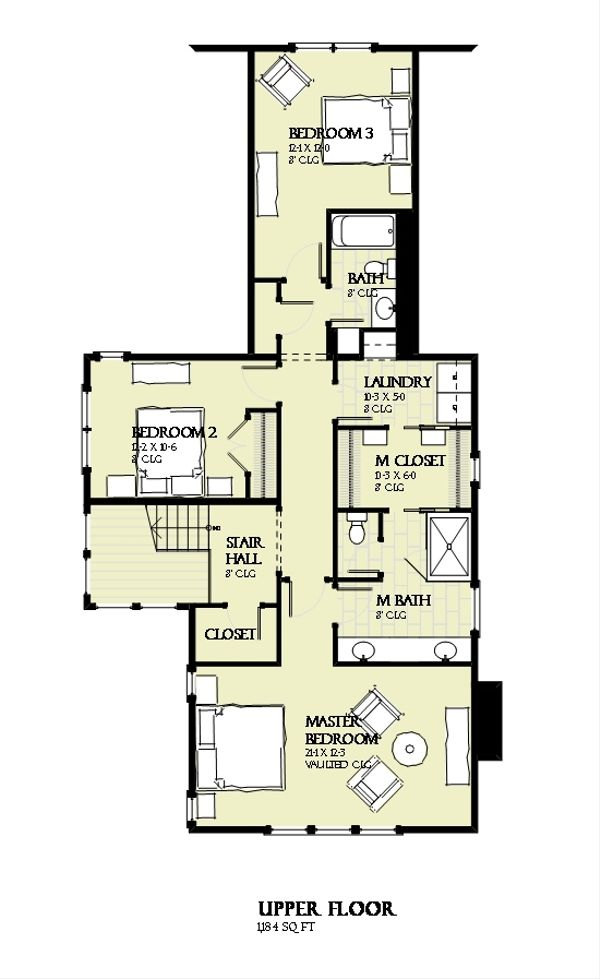 Beach Floor Plan - Upper Floor Plan Plan #901-131