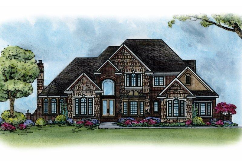 Architectural House Design - European Exterior - Front Elevation Plan #20-1690