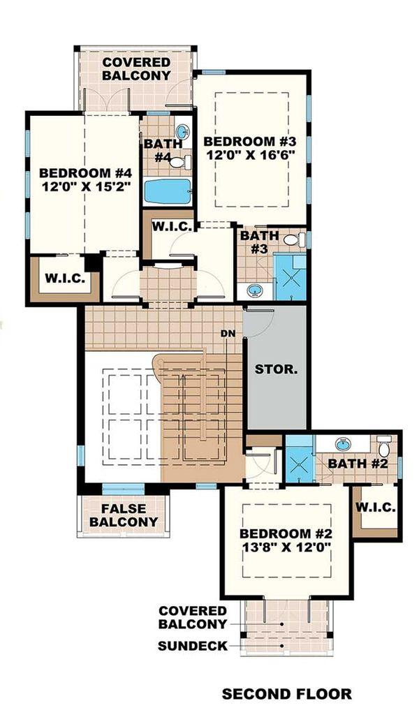 Beach Floor Plan - Upper Floor Plan Plan #27-474