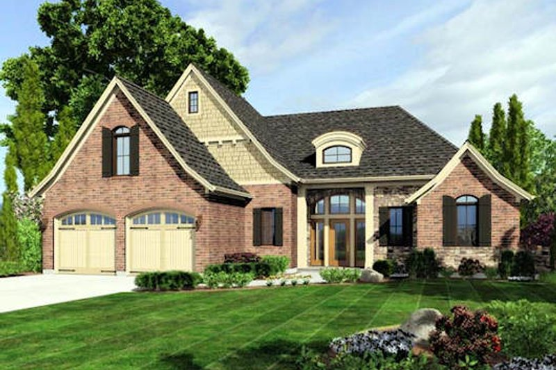 Dream House Plan - European Exterior - Front Elevation Plan #46-473