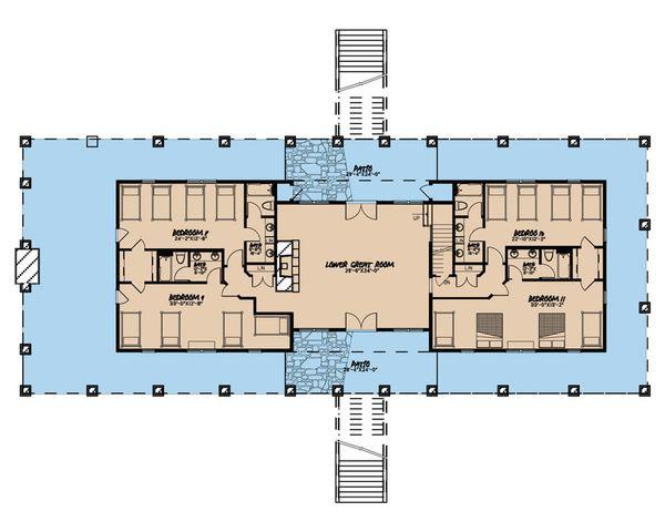 Country Floor Plan - Lower Floor Plan Plan #923-47
