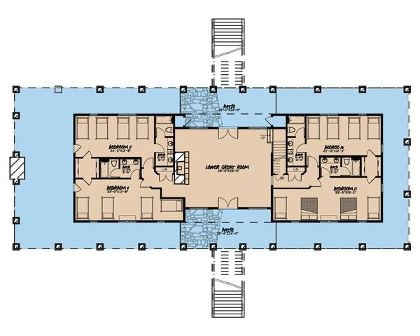 Country Floor Plan - Lower Floor Plan Plan #923-47