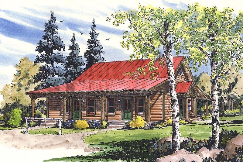 Log Exterior - Front Elevation Plan #942-51
