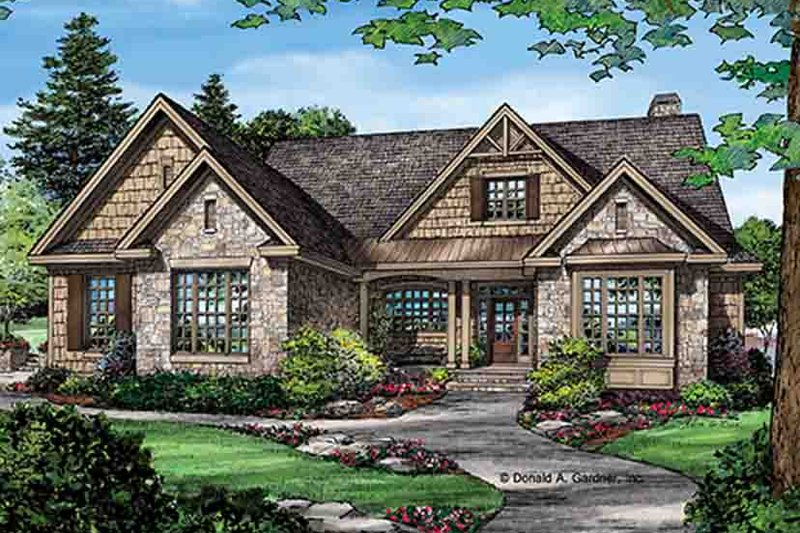 Architectural House Design - Craftsman Exterior - Front Elevation Plan #929-972
