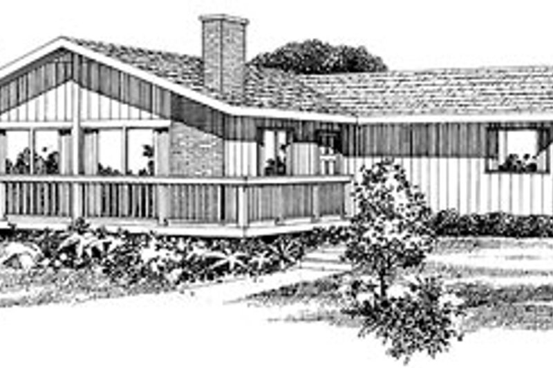 House Plan - 3 Beds 1.5 Baths 1244 Sq/Ft Plan #47-393 Exterior - Front Elevation
