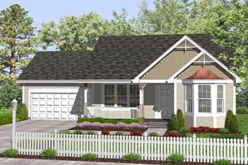 Traditional Style House Plan - 2 Beds 1 Baths 947 Sq/Ft Plan #50-130 Exterior - Front Elevation