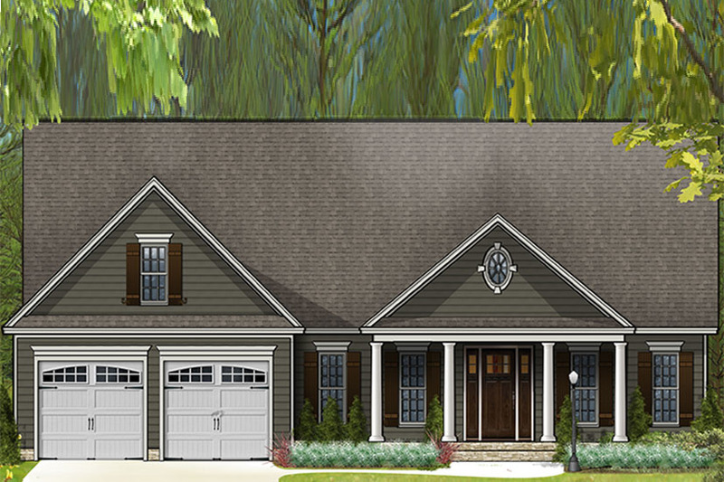 Country Exterior - Front Elevation Plan #977-10