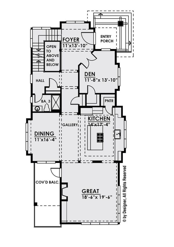 Contemporary Floor Plan - Main Floor Plan Plan #1066-33