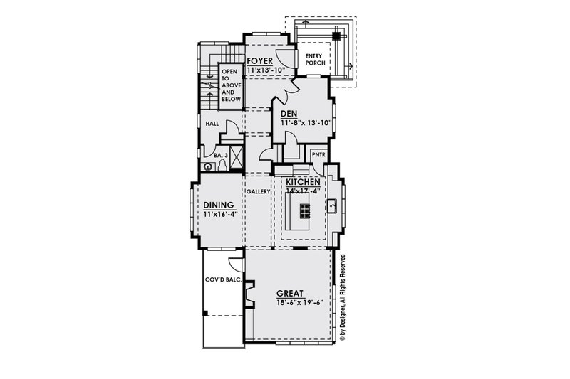 Contemporary Floor Plan - Main Floor Plan Plan #1066-33