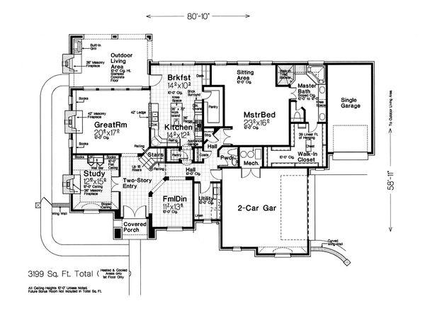 House Plan Design - European Floor Plan - Main Floor Plan #310-1297