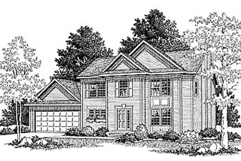 Traditional Style House Plan - 3 Beds 2.5 Baths 1686 Sq/Ft Plan #70-171 Exterior - Front Elevation