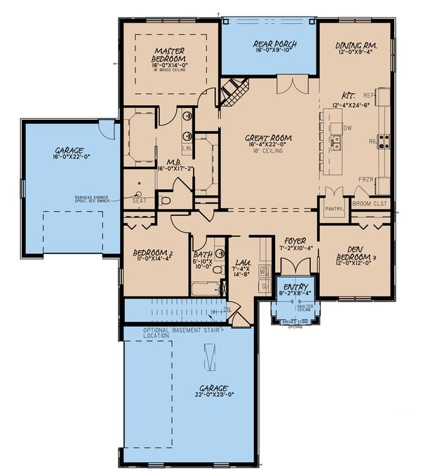 House Plan Design - Traditional Floor Plan - Main Floor Plan #923-182