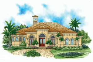 Mediterranean Exterior - Front Elevation Plan #1017-15
