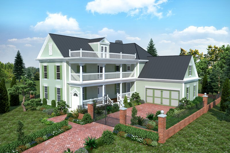 Southern Style House Plan - 4 Beds 3.5 Baths 3357 Sq/Ft Plan #30-344 Exterior - Front Elevation