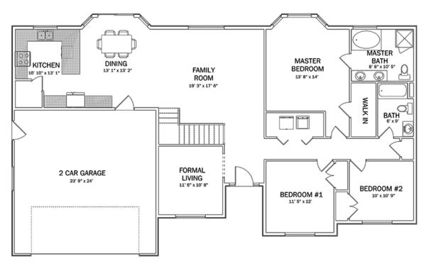 Home Plan - Ranch Floor Plan - Main Floor Plan #1060-35