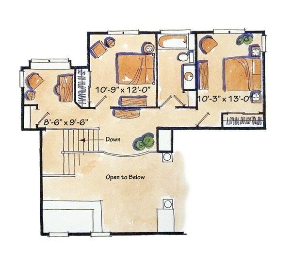 Craftsman Floor Plan - Upper Floor Plan Plan #942-12