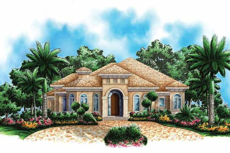 Mediterranean Exterior - Front Elevation Plan #1017-140