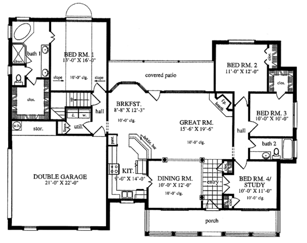 Country Floor Plan - Main Floor Plan Plan #42-553