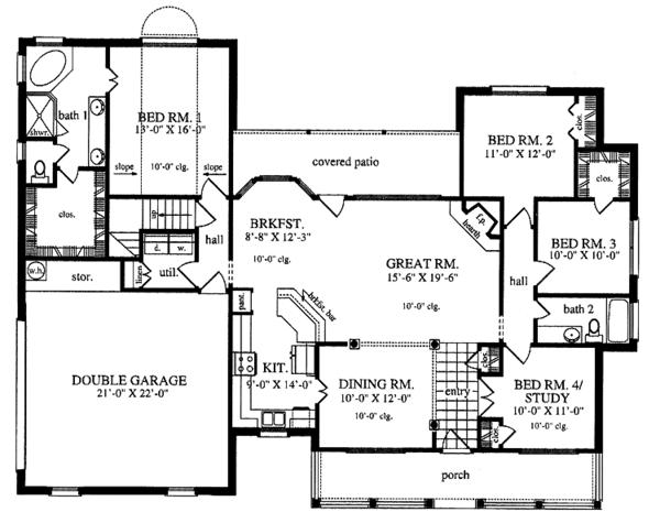 Country Floor Plan - Main Floor Plan Plan #42-553