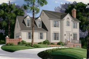 Colonial Exterior - Front Elevation Plan #56-131