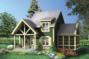 Country Style House Plan - 2 Beds 2 Baths 1196 Sq/Ft Plan #25-4619 Exterior - Front Elevation