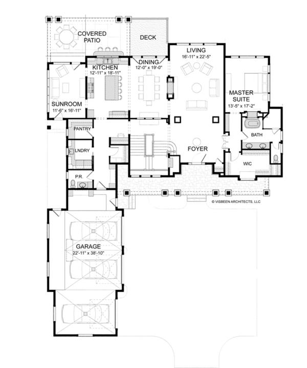 Craftsman Floor Plan - Main Floor Plan Plan #928-260