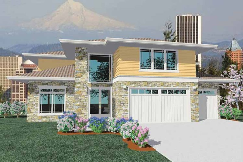 Prairie Exterior - Front Elevation Plan #509-425 - Houseplans.com