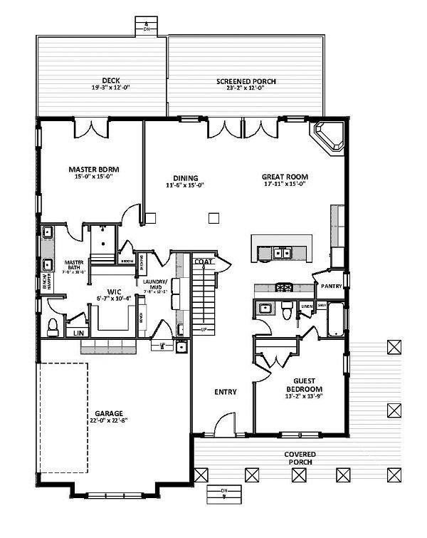 Craftsman Floor Plan - Main Floor Plan Plan #898-46