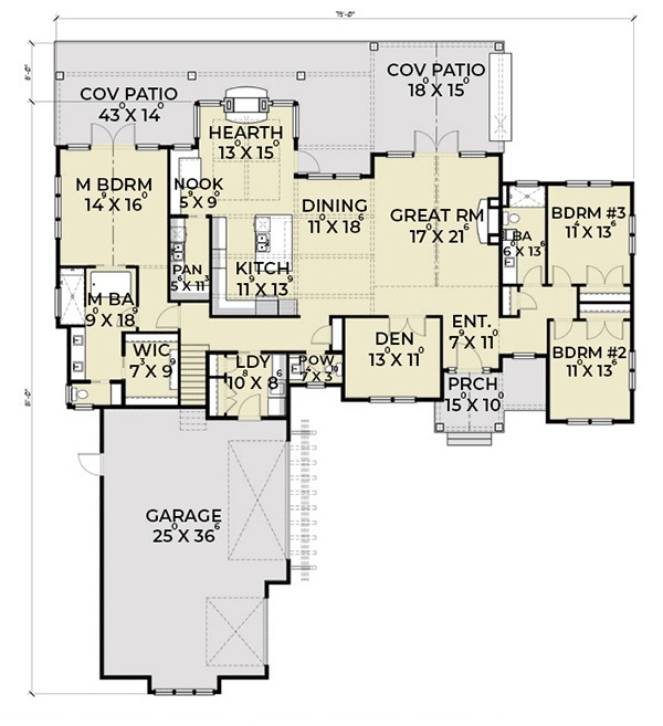 Farmhouse Floor Plan - Main Floor Plan Plan #1070-4