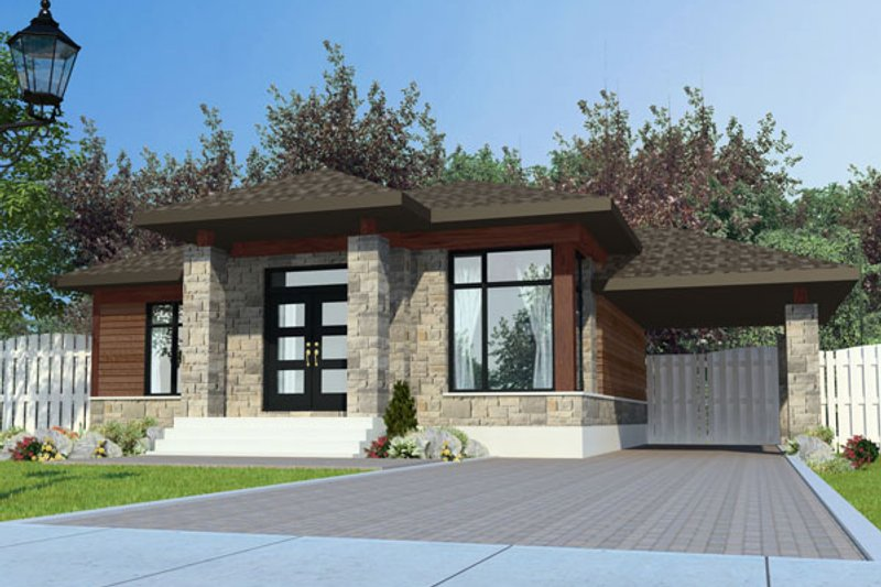 Modern Style House Plan - 3 Beds 1 Baths 1025 Sq/Ft Plan #138-382 Exterior - Front Elevation