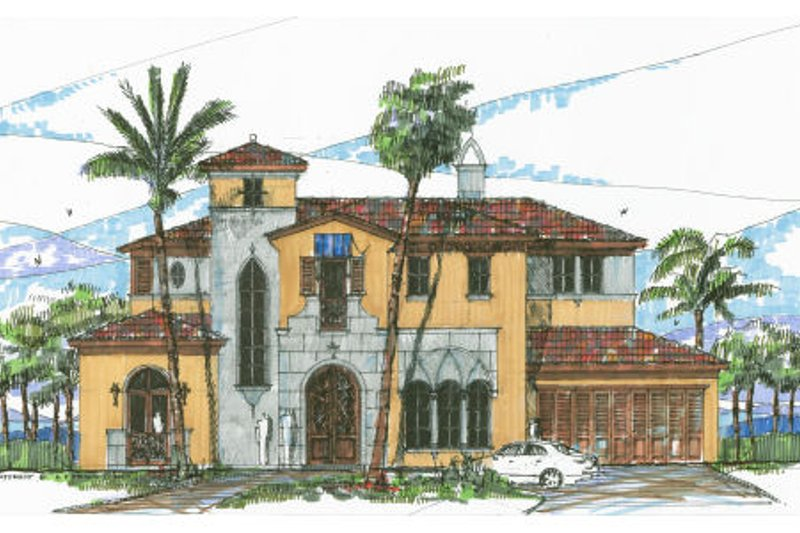 Mediterranean Style House Plan - 5 Beds 5 Baths 5048 Sq/Ft Plan #426-3 Exterior - Front Elevation