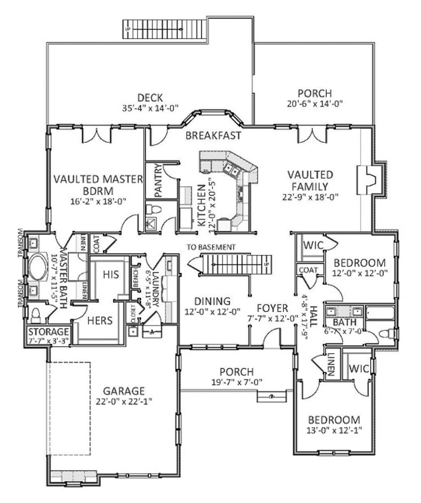 Colonial Floor Plan - Main Floor Plan Plan #898-38