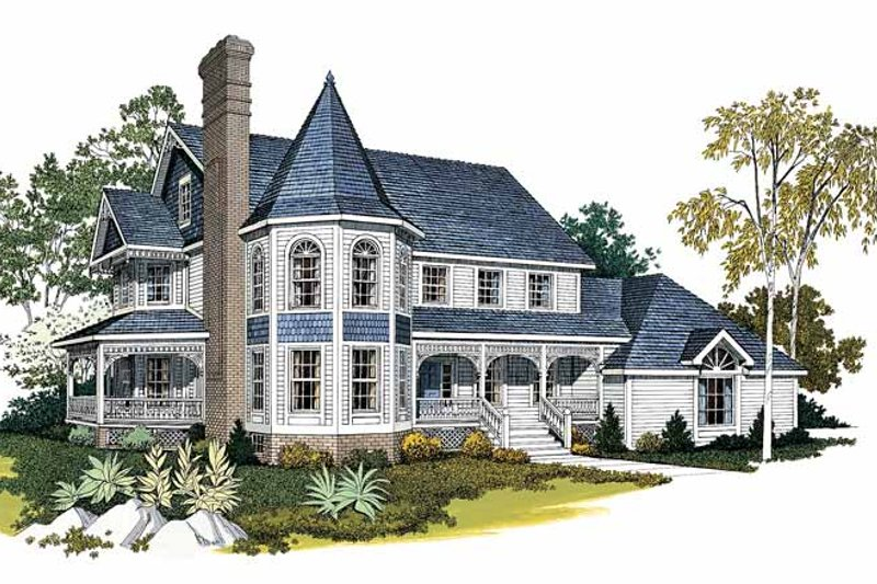 Dream House Plan - Victorian Exterior - Front Elevation Plan #72-802