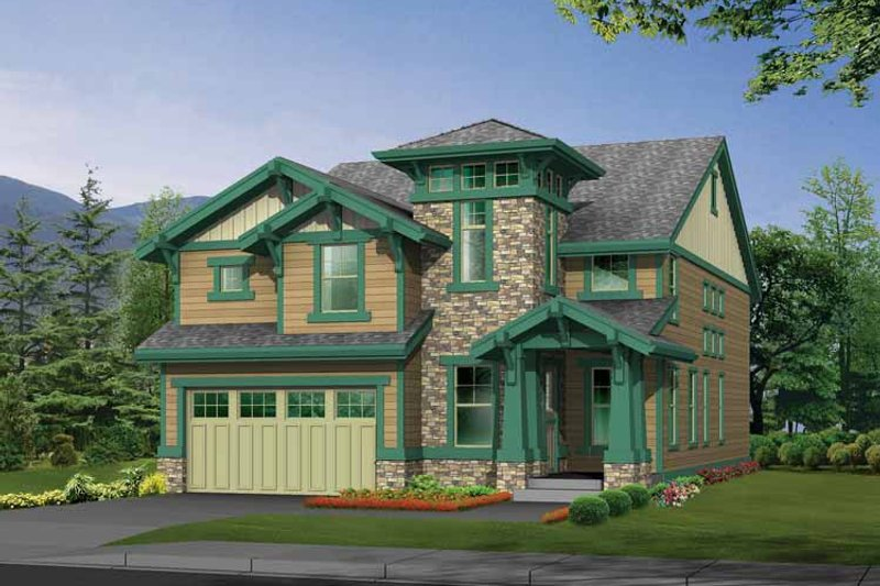 Craftsman Exterior - Front Elevation Plan #132-329
