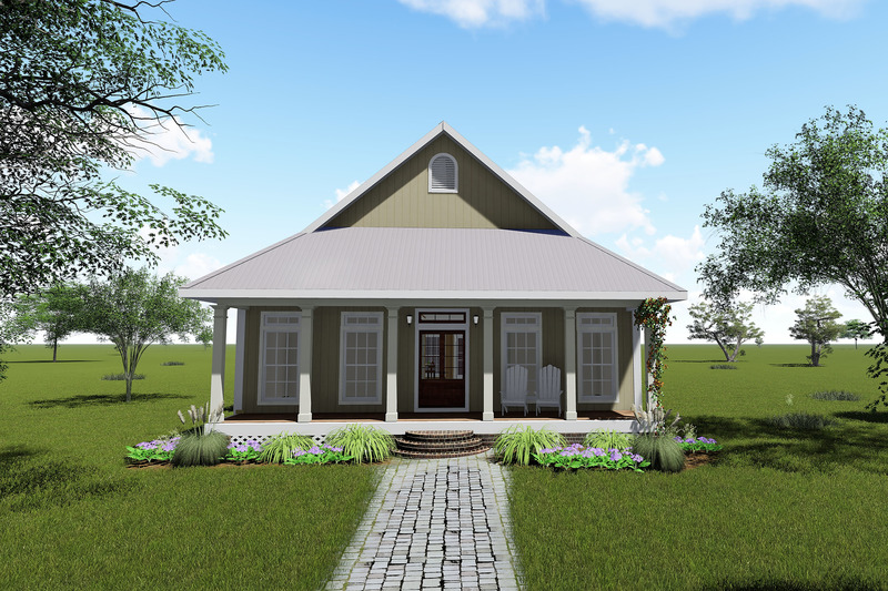 Cottage Exterior - Front Elevation Plan #44-165
