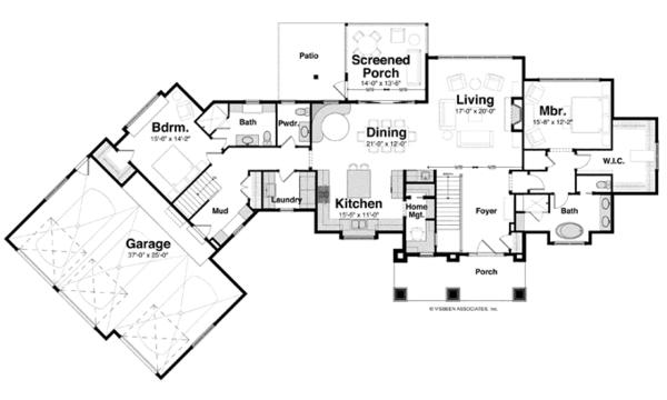 Craftsman Floor Plan - Main Floor Plan Plan #928-253